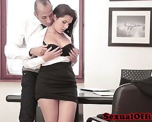 Busty office spex chick receives spunk fountain on bumpers