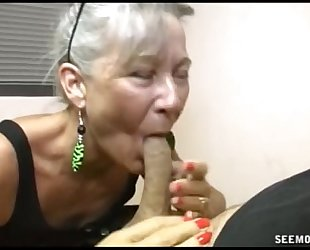 Slutty granny oral-stimulation