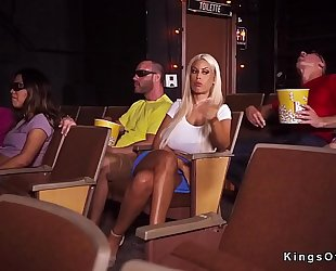Huge titties blond cheating at the movie scenes