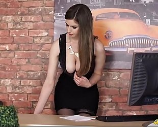 Hot secretary playgirl bows over to tease her cleavage - large pointer sisters porn