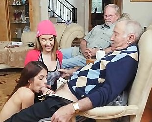 Dirty old stud sucked off by 2 nubiles at one time