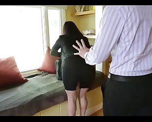 Sophie dee's titties distract her boss from work!