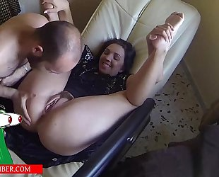 Blowjob arse and bawdy cleft on the bed