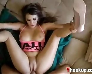 Sexy latin babe wife in high wedges getting drilled by large schlong