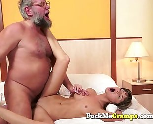Petite hotwife screwed by large old man