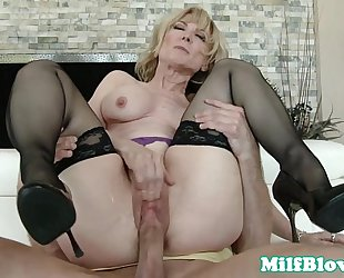 Cocksucking cougar pounded by hard ramrod