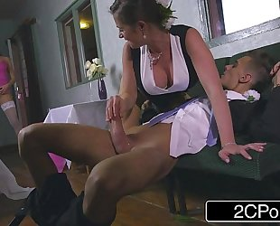 Slutty bridesmaid mea malone and lustful mother-in-law cathy heaven give orall-service