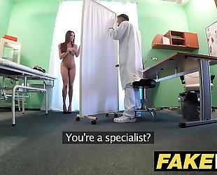 Fake hospital tall dark brown patient with large natural bumpers swallows docs cum