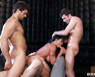 Three hunky studs destroyed brunette's tight holes