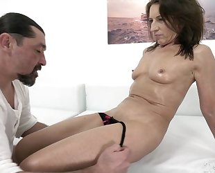 Raunchy housewife with small cans gets pounded by long-haired dude