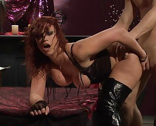 Passionate redhead slut in high boots gets fucked hard