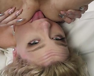 Blonde-haired bimbo with glasses sucks cock and licks his asshole