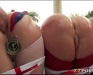 Three biggest arse honeys assholes drilled up with big shaft