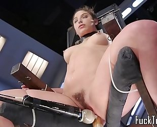 Babe restrained to chair for cookie toying