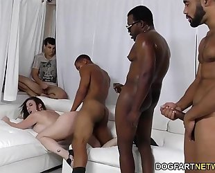 Sara jay receives ganbanged by dark guys in front of her son