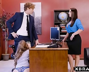 Office 3some with 2 bosses and a hot employee