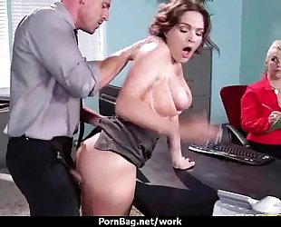 Big titted secretary copulates at the office three