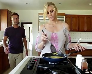 Orally satisfied milf team-fucked by her stepson